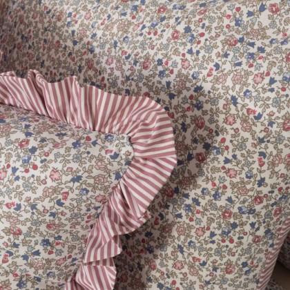 Posteľné obliečky Flores/ružový prúžok