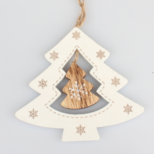 18c507d28 Dekorácia drevená ozdoba - stromček biely